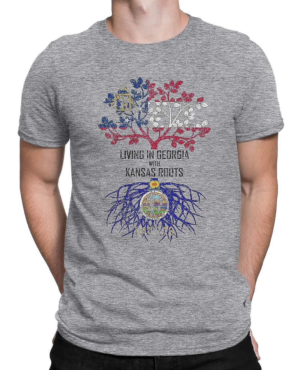 Tenacitee Mens Living in Georgia Kansas Roots T-Shirt