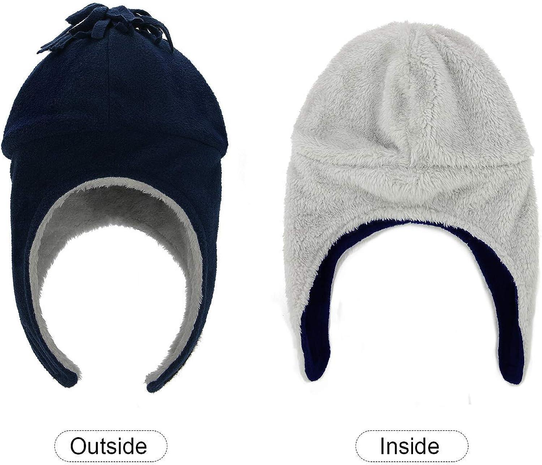 Eternal Berry Baby Toddler Newborn Fleece Hats Sherpa Lined Boys Cap Winter Mitten Set