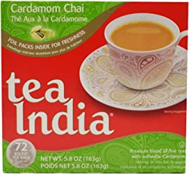 Tea India Round Tea Bags, Cardamom Chai, 72 Count (Pack of 12)
