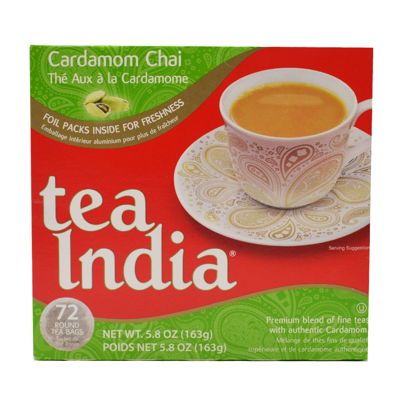 Tea India, Cardamom Chai Tea Bags, 72 Count (Pack of 12)