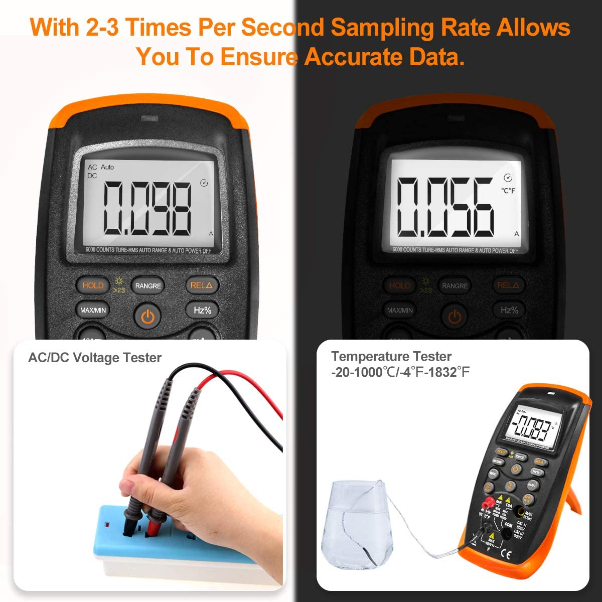Ohm,Capacitance,Temp,Hz and Diode Tester Electrical Tester with NCV INFURIDER Digital Multimeter,Auto-Raging TRMS 6000 Counts Voltmeter Ammeter Ohmmeter for AC DC Volt /&Current