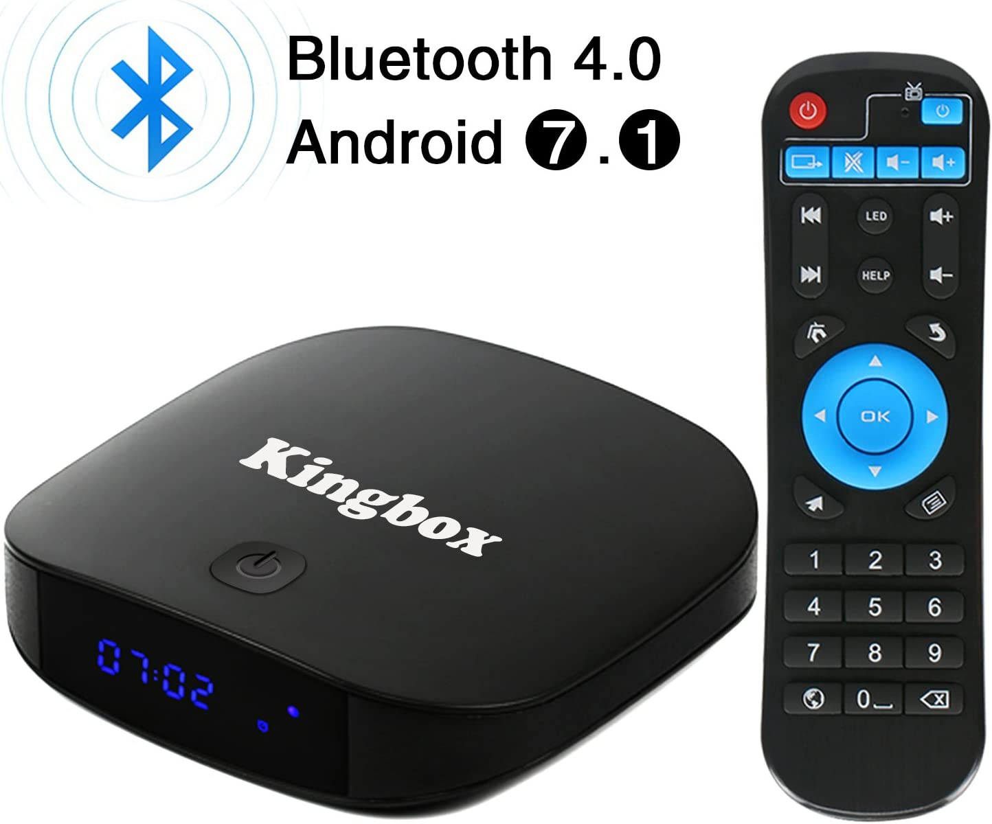 Kingbox Android TV Box Bluetooth 4.0 / Android 7.1 / 3D / 4K Full HD / 2.4 GHz WiFi/H.265 Smart Scatola TV (2+8): Amazon.es: Electrónica