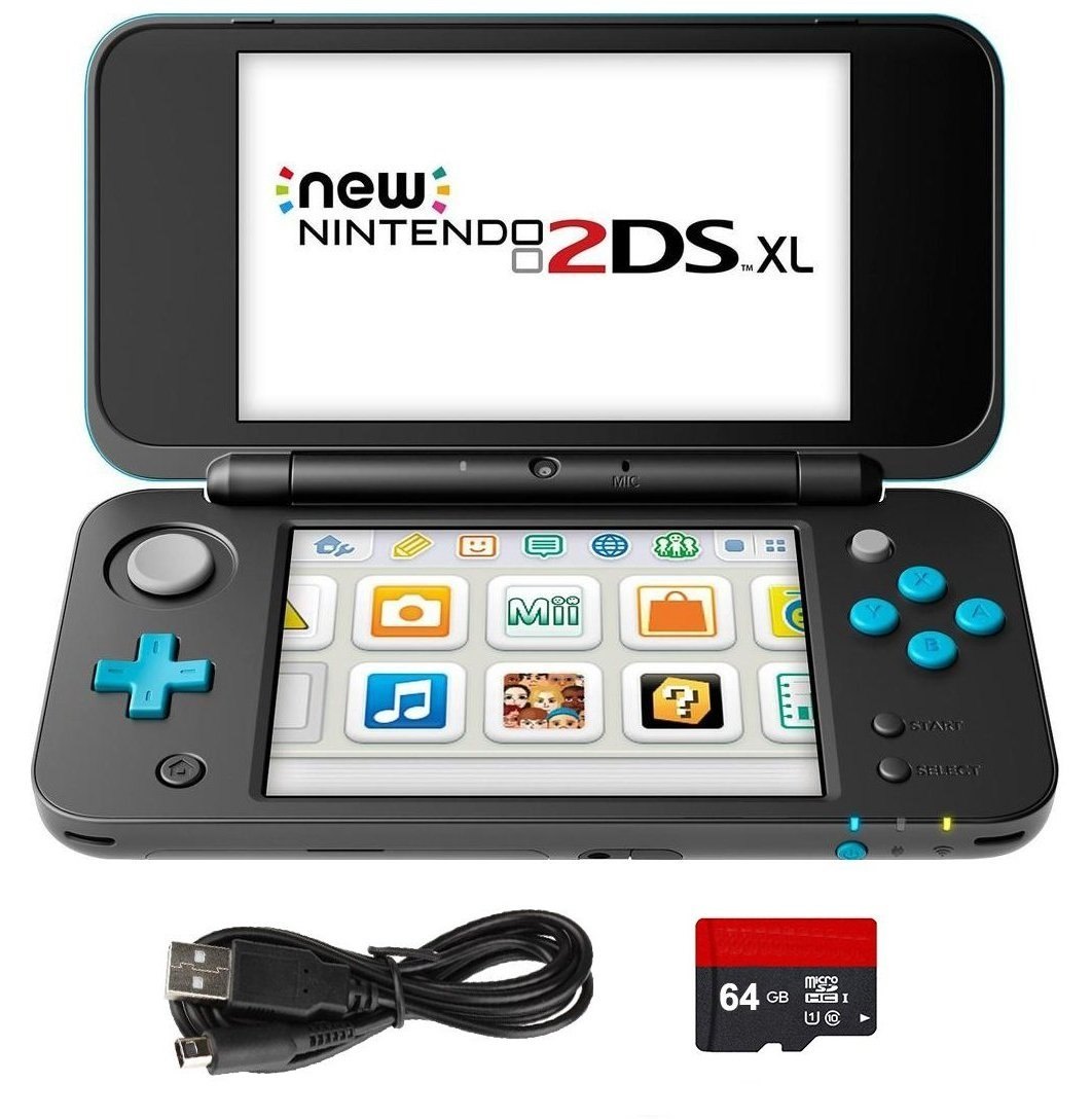 New Nintendo 2DS XL 4 Items Bundle: New Nintendo 2DS XL - Black + Turquoise Console, USB Sync Charge USB Cable, Mytrix Travel USB Wall Charger and Micro SD Card 64GB by Nintendo