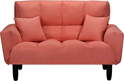 Loveseat Sleeper 55″ Modern Couch Small Futon Tufted Sofa