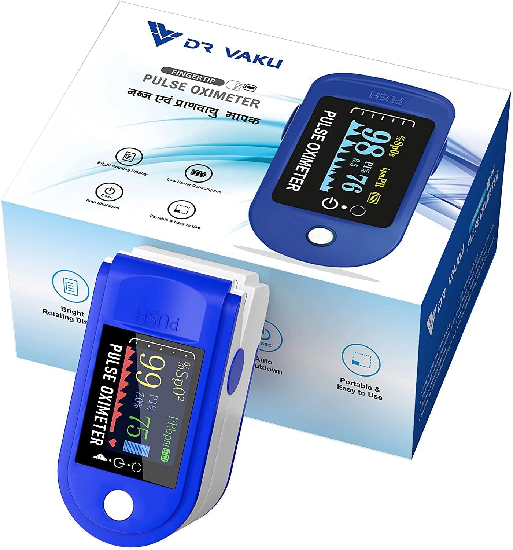 Pulse Oximeter Fingertip Oxygen Meter, O2 Saturation, Pulse Rate