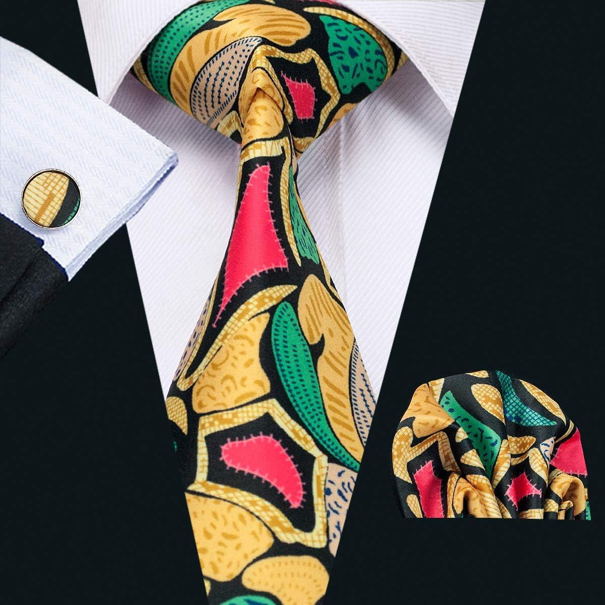 Barry.Wang Men Silk Tie Set Designer Abstract Necktie Pocket Square Cufflinks /…