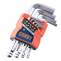 Convy GJ-0052 Allen Wrench Set, Hex Key Set with Arm Ball End, Metric, Set of 9...