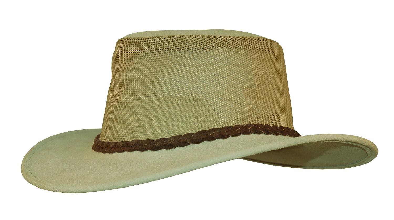 Netzeinsatz und geflochtenem Hutband Herren Damen Gr/ö/ße Kakadu Traders Outdoor-Hut Bendigo aus Wildleder
