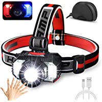 [2021 Newest]LED Headlamp Flashlight 10000Lumen Multifunctional-Rechargeable Work Light with Button&Motion Mode-Running…