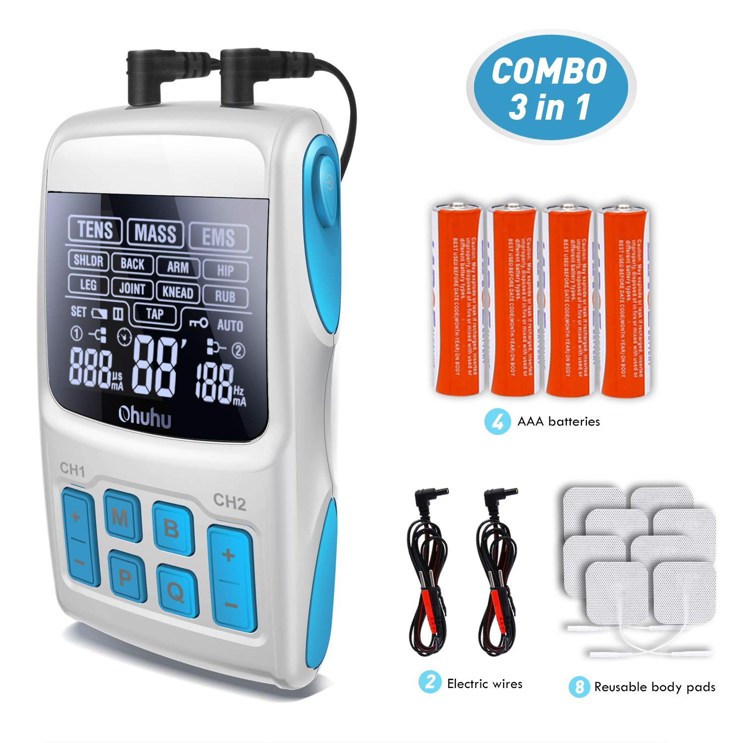 FDA Cleared Tens Unit, Ohuhu 3-in-1 Electrical Muscle Stimulator - TENS Unit + EMS Therapy +Pulse Massager Combination - electrotherapy with 36 Modes and 8 Reusable Pads for Fathers' Day Gifts