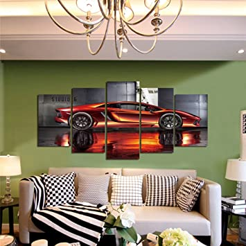GEVES Framed Wall Art Picture 5 Panels Cool Orange Sports Car Giclee Canvas  Print Paintings For