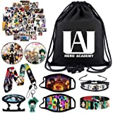 YKLL My Hero Academia Gift Sets Including Drawstring Bag,Face Masks,Waterproof Stickers,Bracelets,Lanyard,Button Pins, Phone