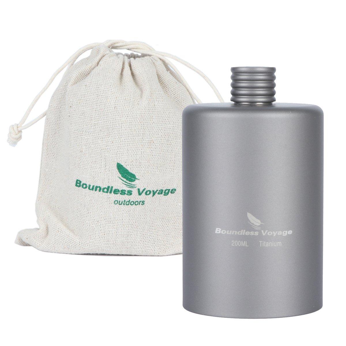 iBasingo 200ml Titanium Pocket Flagon Camping Portable Alcohol Bottle Drink Sports Outdoor Hip Flask Picnic Wine Bottle