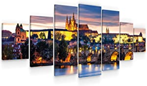 STARTONIGHT Huge Canvas Wall Art - Prague Castle from Old Town - USA Large Home Decor - Dual View Surprise Artwork Modern Framed Wall Art Set of 7 Panels Total 40