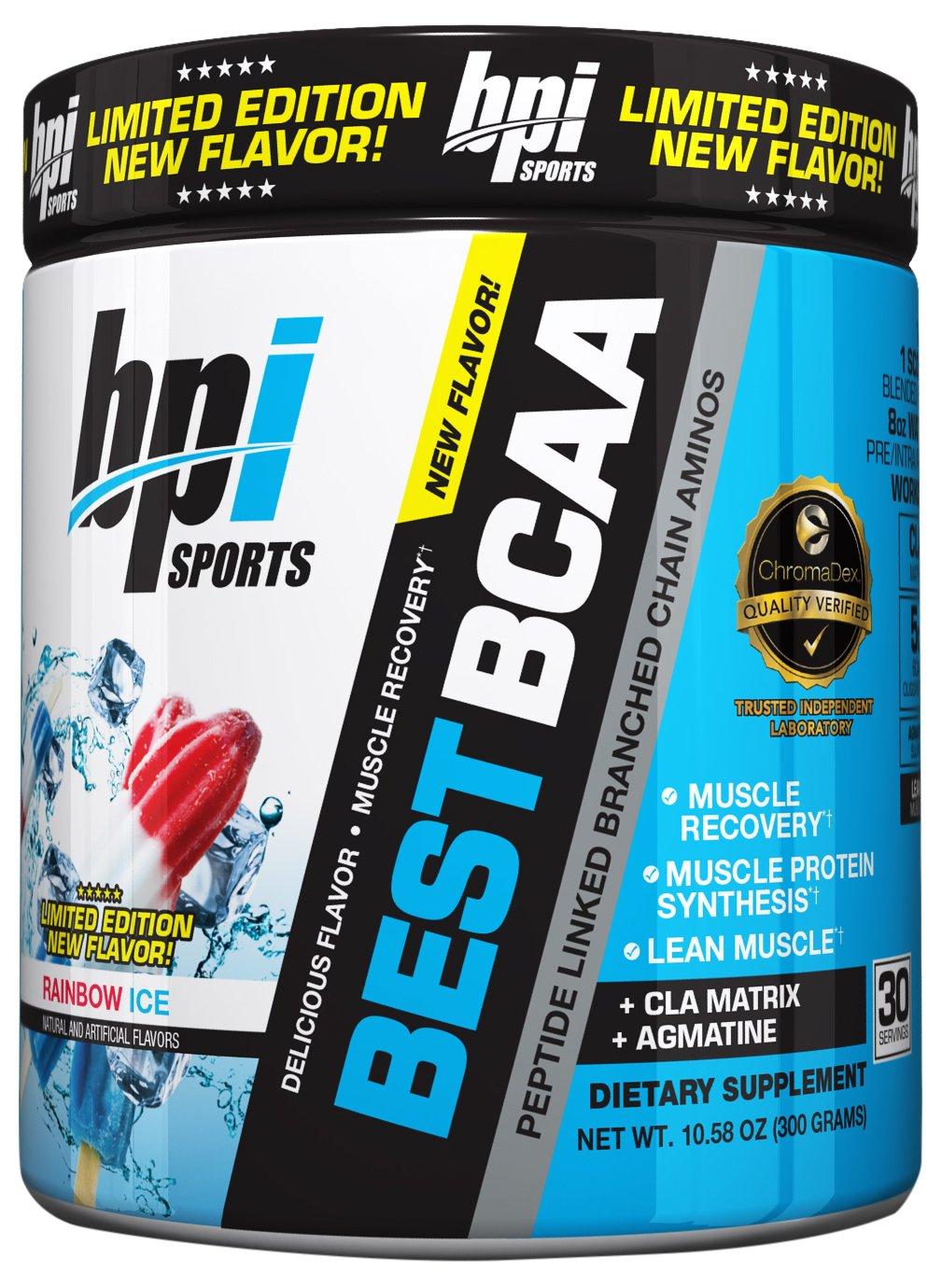 BPI Sports Best BCAA Powder, Rainbow Ice, 10.58 Ounce