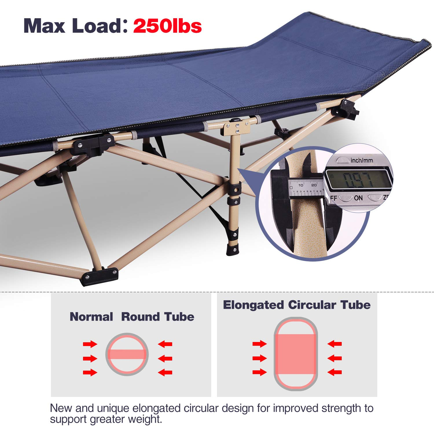 REDCAMP Folding Camping Cot for Adults, Heavy Duty Portable Sleeping Cot Bed with Storage Bag, Cot with Pillow XL Cot Blue Army Green