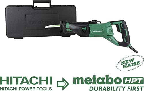 Metabo HPT Reciprocating Saw Corded 11-Amp Variable Speed Orbital Function Switch Bevel Gear Drive System Adjustable Pivot Foot CR13VST