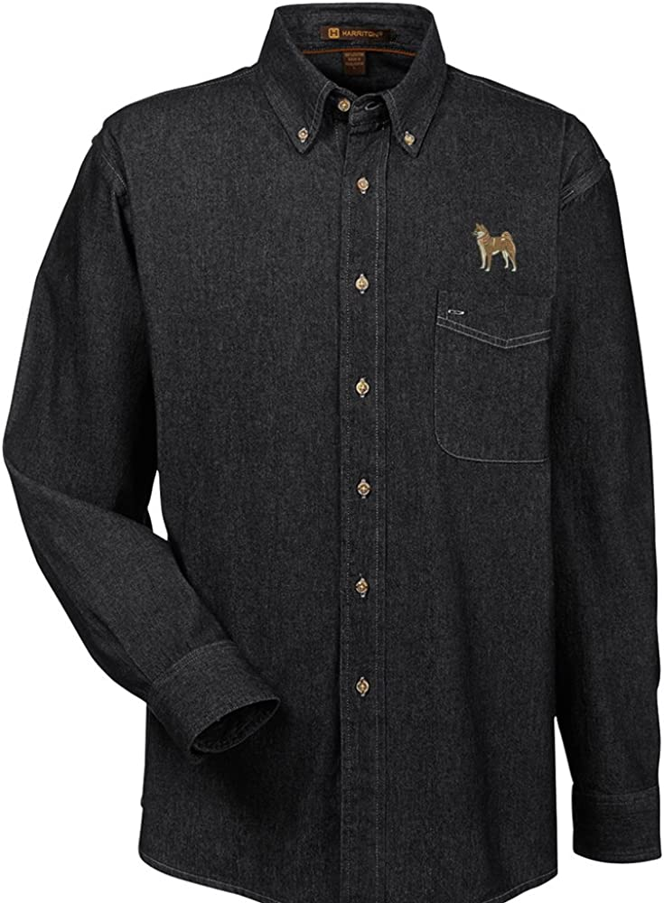 YourBreed Clothing Company Shiba Inu Embroidered Mens 100/% Cotton Denim Shirt