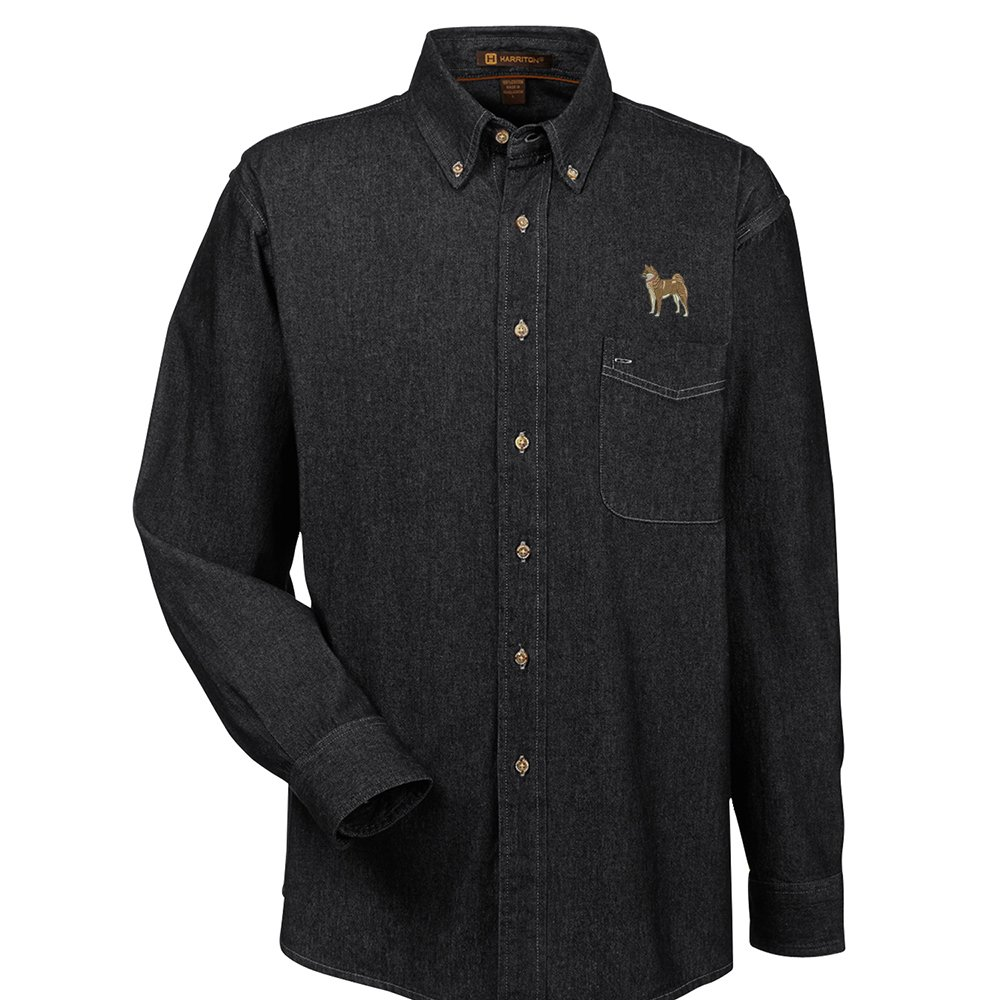 YourBreed Clothing Company Shiba Inu Embroidered Mens 100/% Cotton Denim Shirt