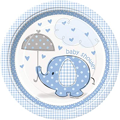 Blue Elephant Boy Baby Shower Dinner Plates, 8ct: Kitchen & Dining