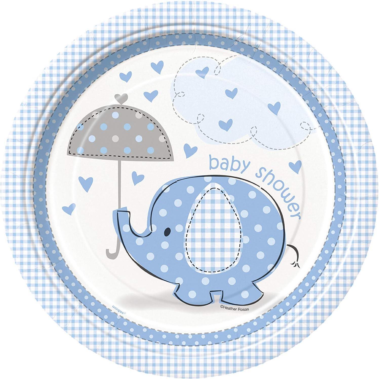 Blue Elephant Boy Baby Shower Dessert Plates 8ct