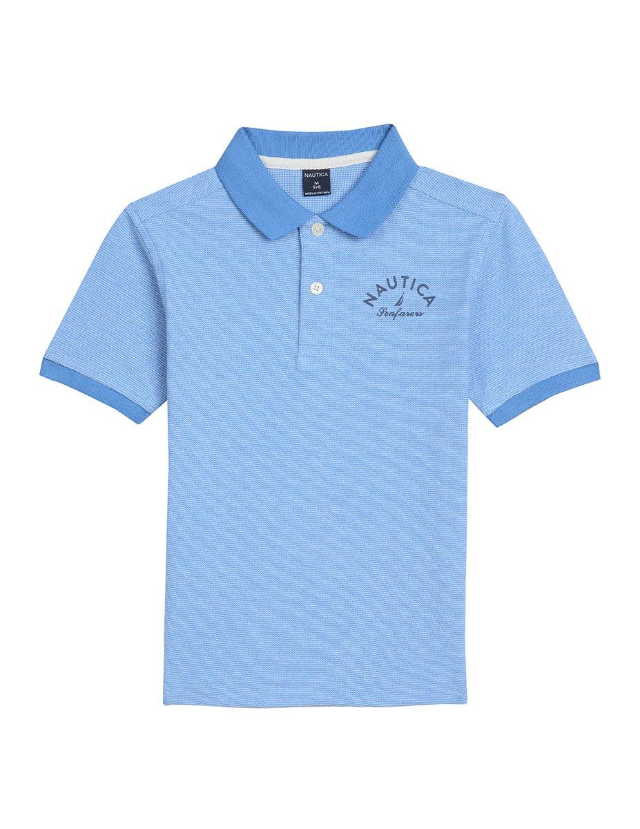 Nautica boys Short Sleeve Mini Stripe Logo Polo N881702Q