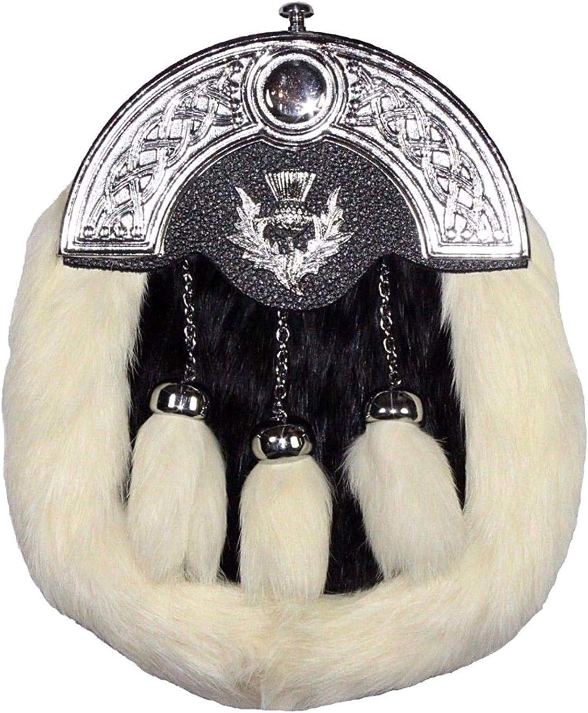SCOTTISH FULL DRESS SPORRAN WHITE RABBIT FUR /& CHROME CELTIC CANTLE WITH THISTLE