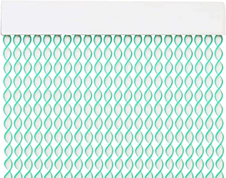 MERCURY TEXTIL Cortina para Puerta Tiras PVC 200x90cm,Cortina para Puerta Exterior,10 Color Blanco+Filo Transparente