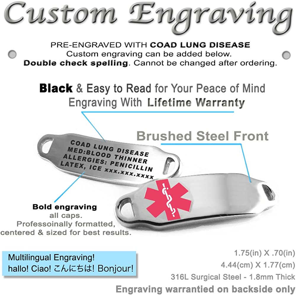 My Identity Doctor Pre-Engraved /& Customizable CORD Lung Disease Medical Bracelet Pattern Millefiori Glass Pink,