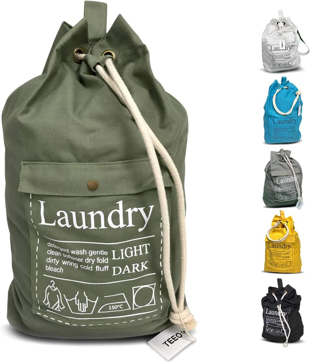 "Laundry Bag Backpack Large Spacious 25""X20"" Drawstring Sturdy Cotton Canvas with Strap for College Students Dorm Room Clothes Hamper Storage Washer Organizer (Army Green)"