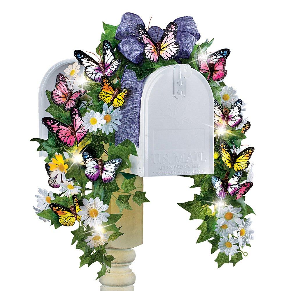 Swag de mariposas buzón Flores primavera decoración con energía ...