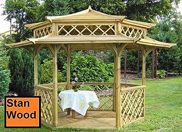 Stan-Wood Pergola tonnelle en bois avec toit en bois japonaise ...