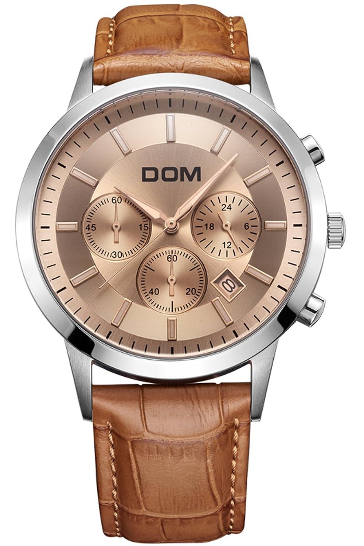 Findtime Herrenuhr Lederarmband Brown Schwarz Chronograph elegante MÄnner Geschenke Business Armbanduhr Kalender