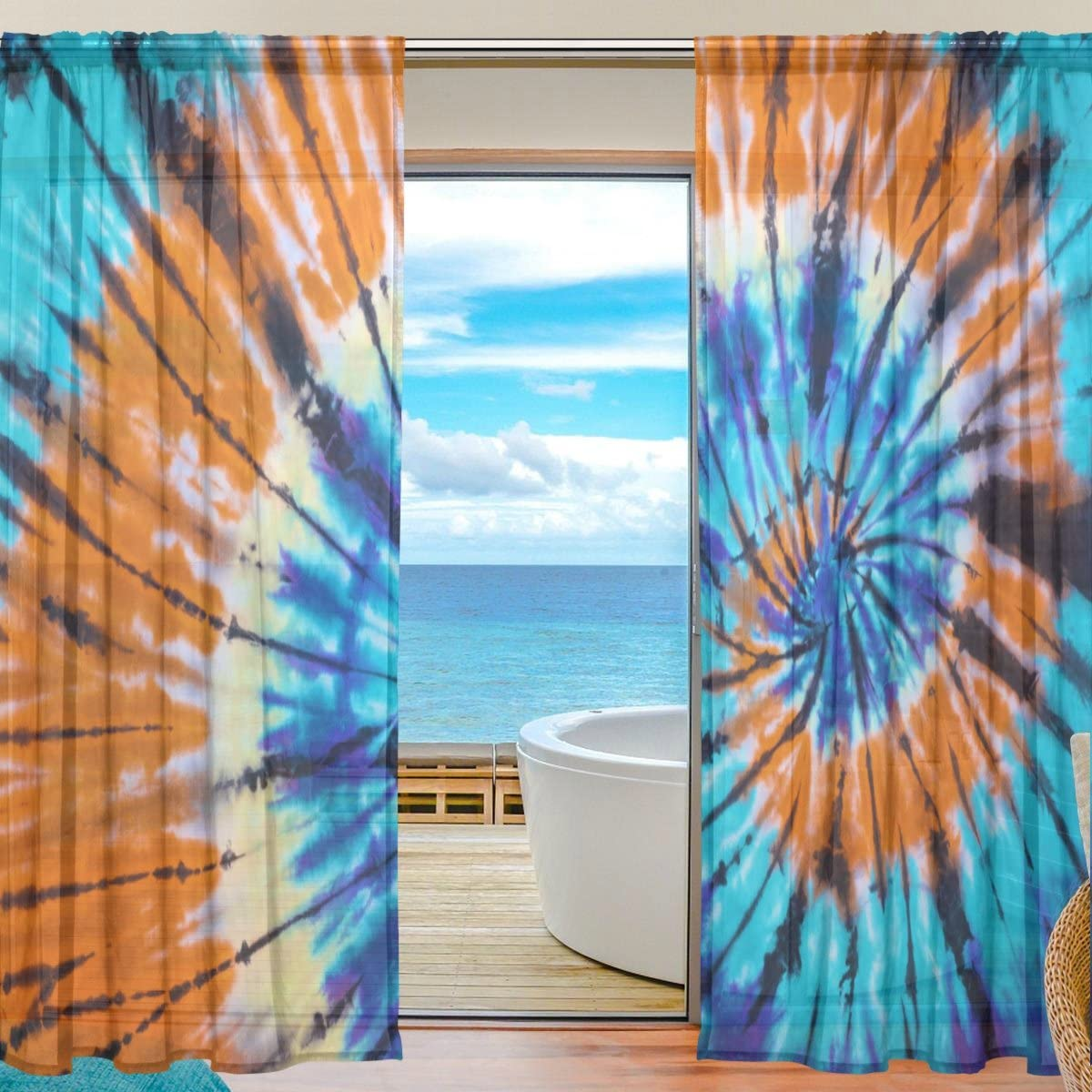 SEULIFE Window Sheer Curtain, Abstract Swirl Tie Dye Voile Curtain Drapes for Door Kitchen Living Room Bedroom 55×78 inches 2 Panels