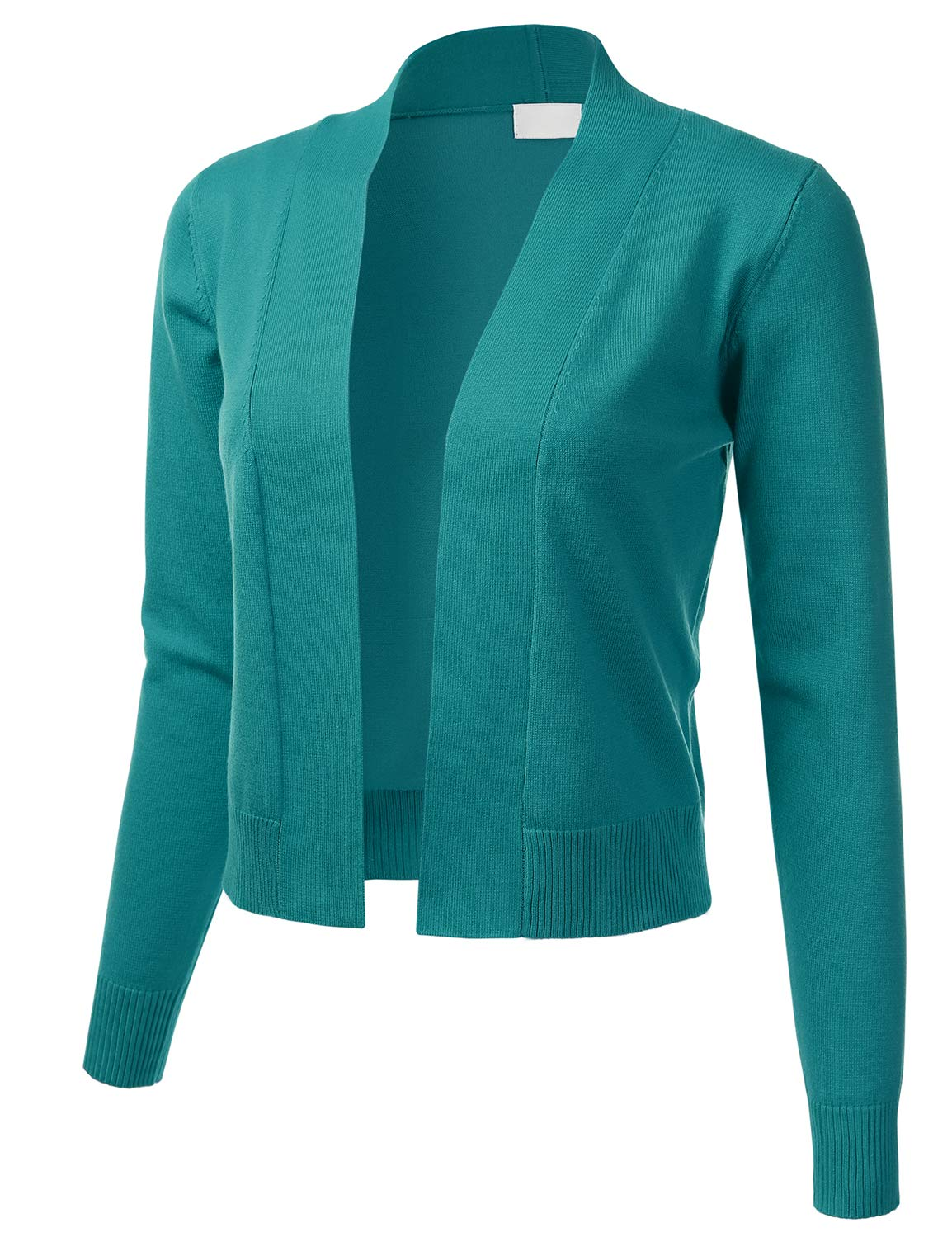 FLORIA Womens Classic Long Sleeve Open Front Cropped Cardigan DarkGreen S