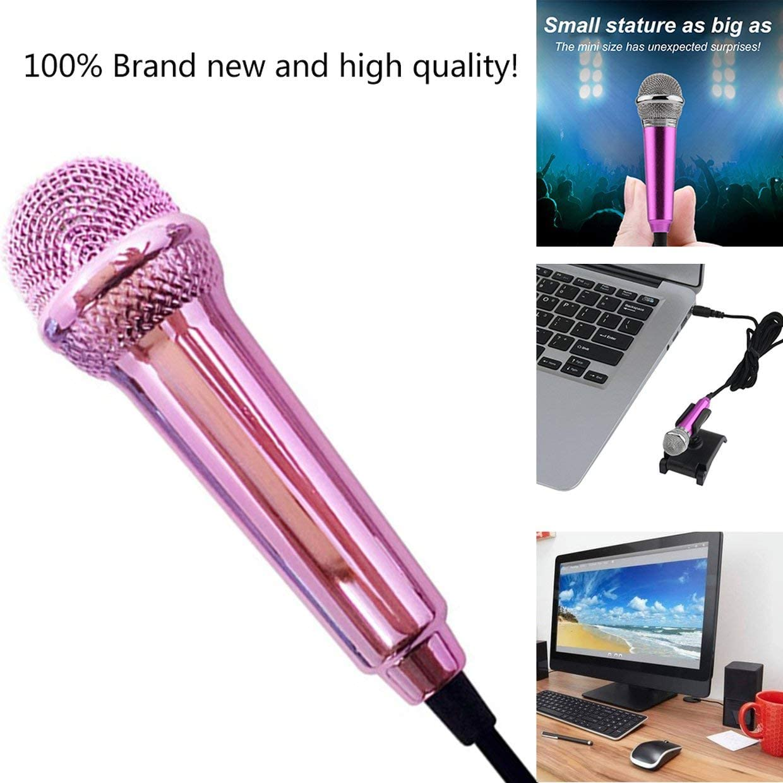 MXECO port/átil de aleaci/ón de aluminio mini micr/ófono con cable de 3.5 mm para tel/éfono m/óvil tableta PC port/átil discurso cantar karaoke para iPhone