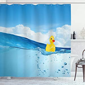 "Ambesonne Rubber Duck Shower Curtain, Little Duckling Toy Swimming in Pond Pool Sea Sunny Day Floating on Water, Cloth Fabric Bathroom Decor Set with Hooks, 70"" Long, Blue Yellow"