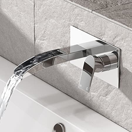 iBathUK Wall Mounted Waterfall Bath Filler Mixer Tap Chrome Bathroom ...