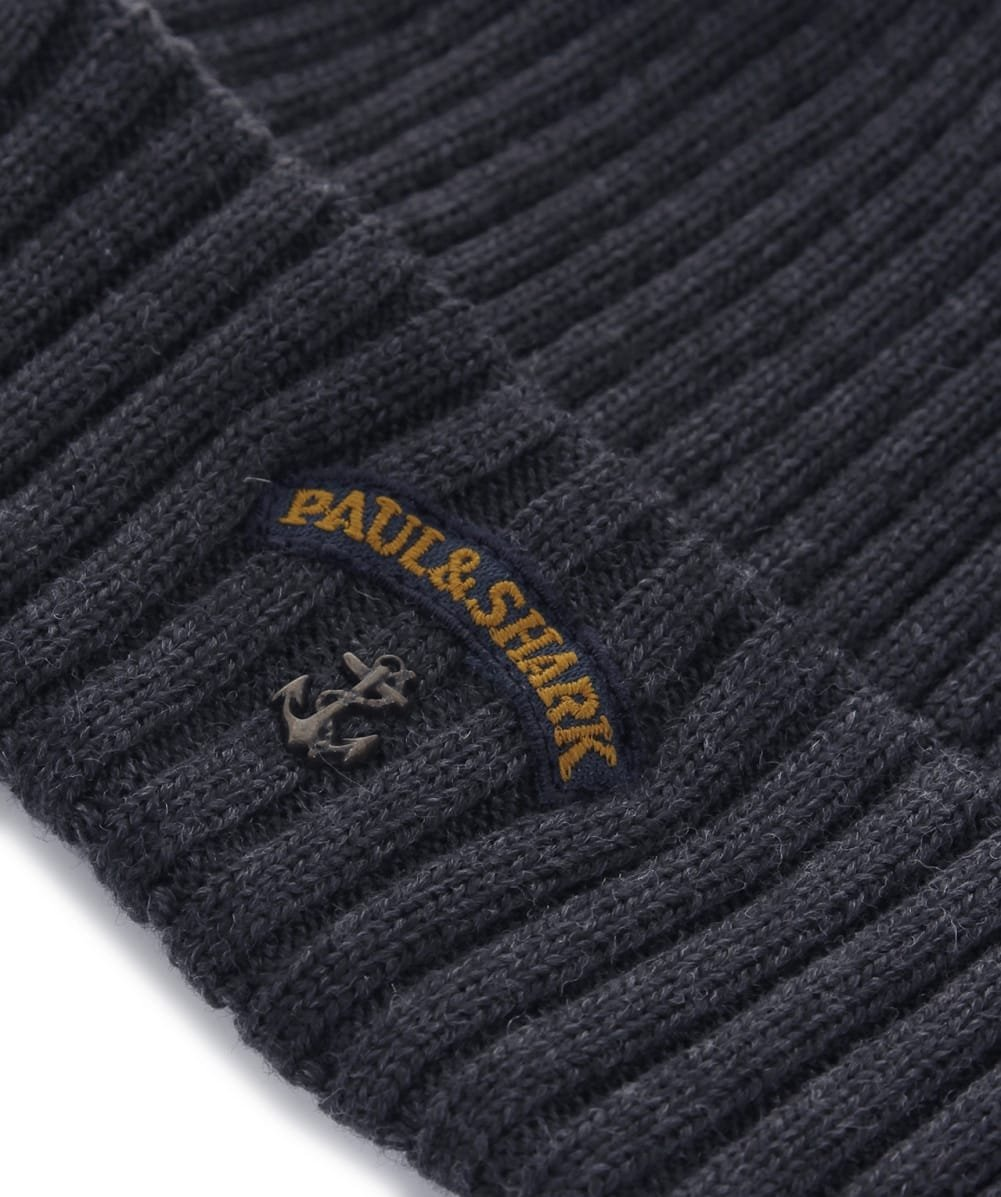 058829cc73b Paul and Shark Men s Virgin Wool Beanie Hat One Size Grey  Amazon.co.uk   Sports   Outdoors