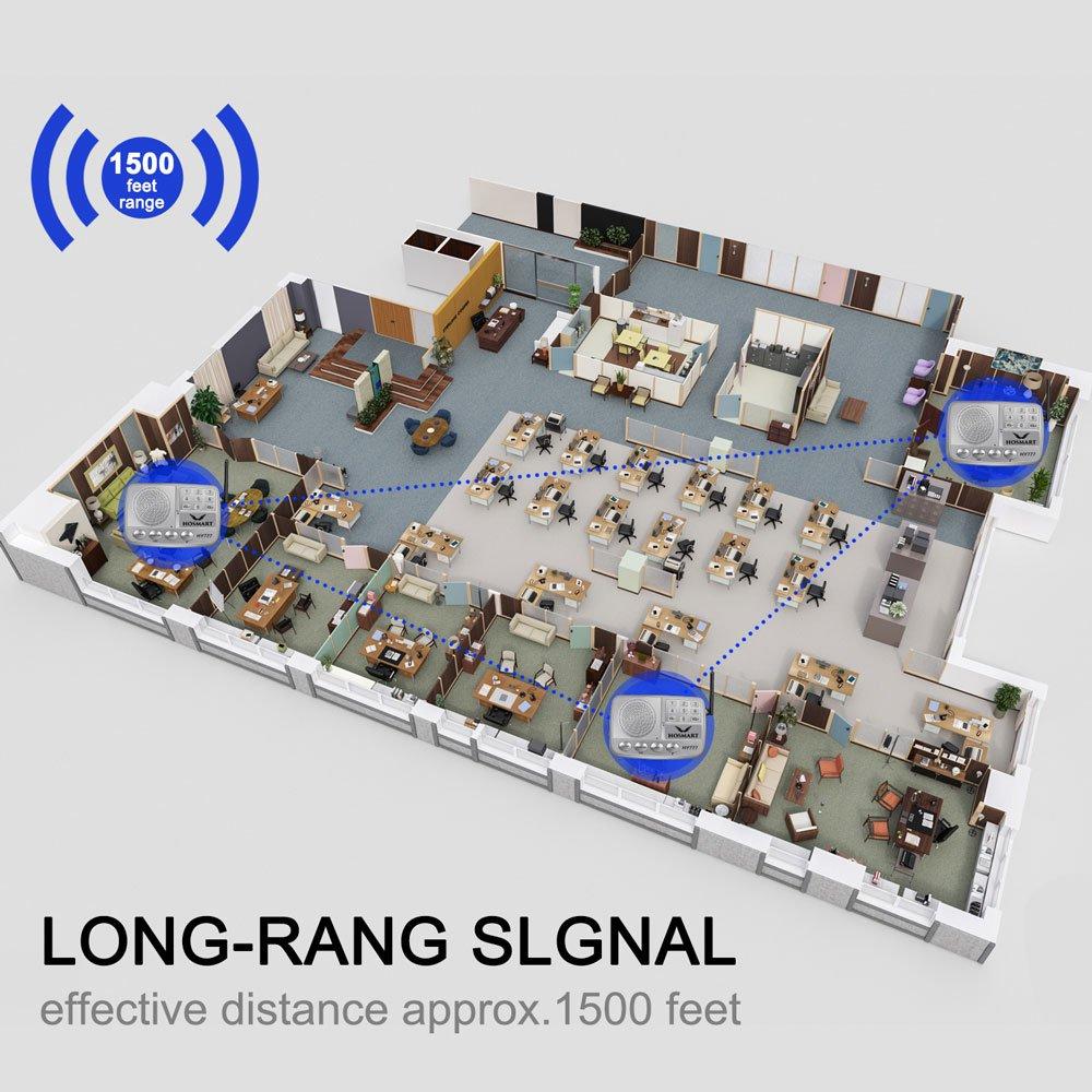 Syst/ème dintercom sans fil Hosmart 1//2 Mile LONG RANGE Syst/ème dintercom sans fil /à 7 canaux pour la maison ou le bureau 5 stations