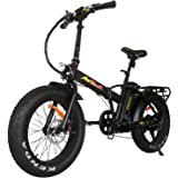 Addmotor MOTAN Folding Electric Bikes 500W Ebikes For Adults 20 Inch Fat Tyre Foldable Electric Bicycle With Throttle 48V 10.4Ah Lithium Battery Pedal Assist Fit For Mountain Beach Snow M-150 4 Colors