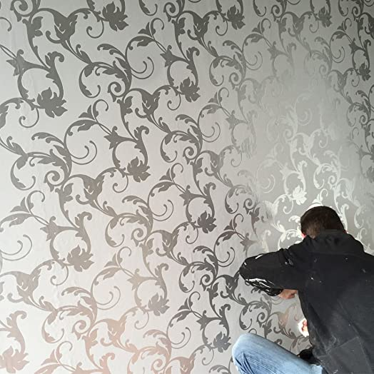 3D Damask Wallpaper Silver and Grey Feature Wall Design