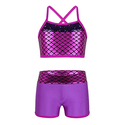 8f7064b5c41 CHICTRY Child Girls Activewear Sequins Mermaid Tank Top & Shorts Set for  Gymnastics Leotard Dancing Fuchsia