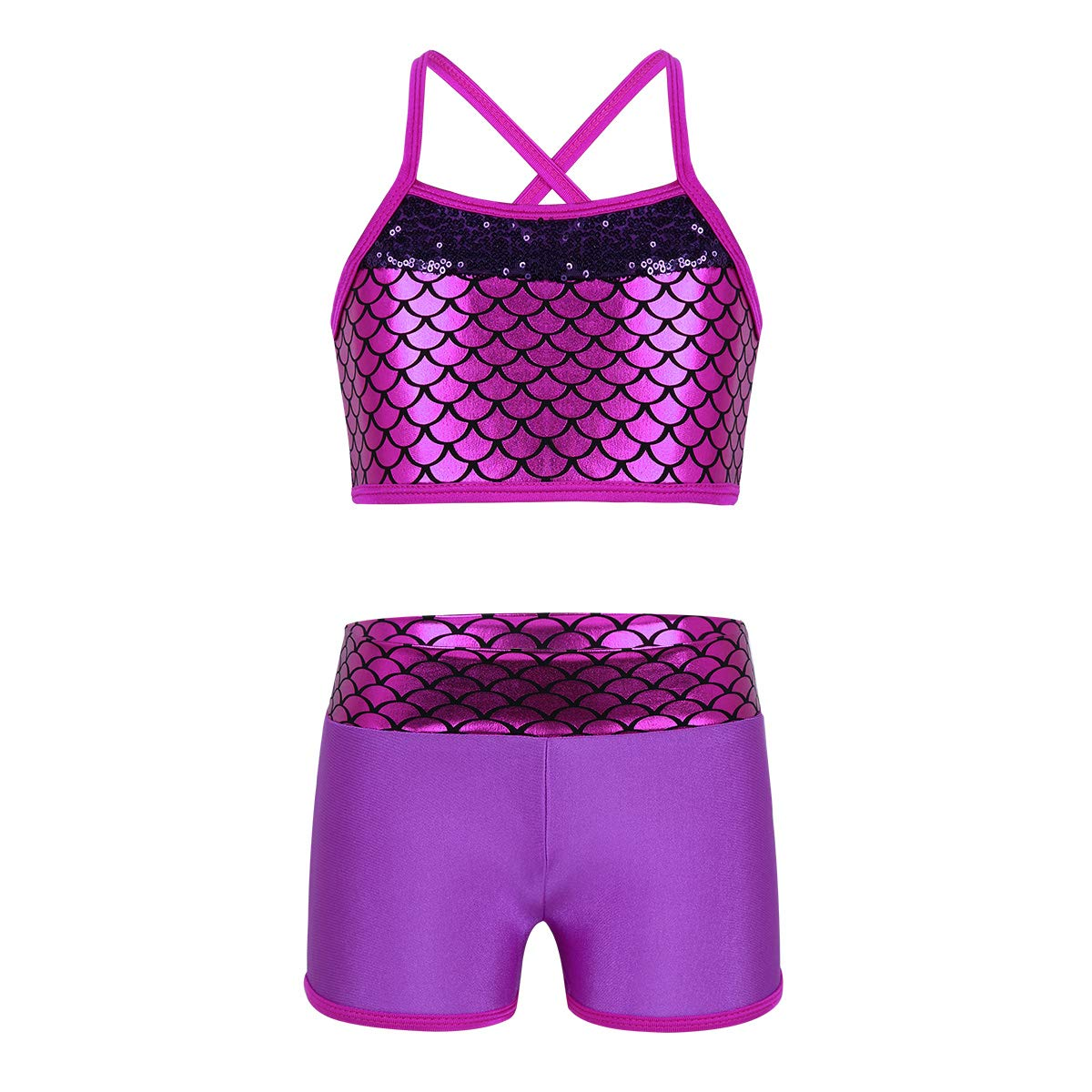 iiniim Kids Girls Two Piece Tankini Bathing Suit Sports Gymmnastics Dancing Swimming Outfit Crop Top with Shorts Set