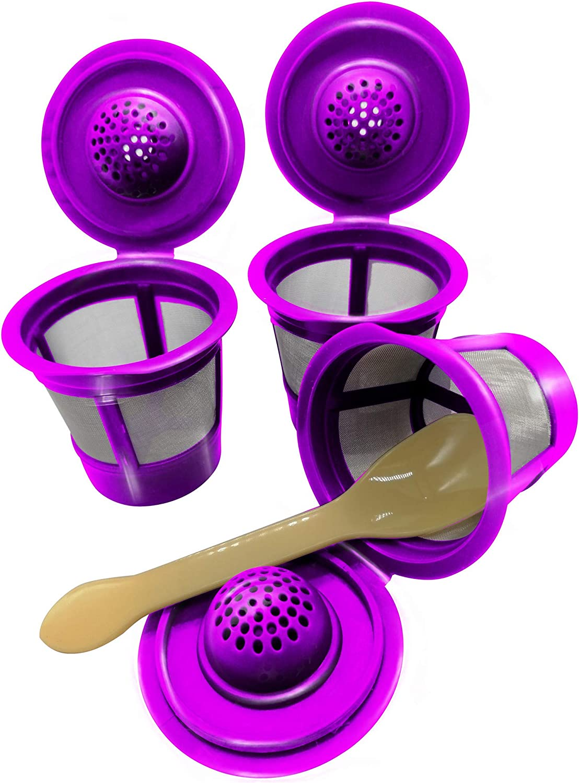 Reusable K Cups ,For Keurig 2.0 &1.0 Coffee Makers -Refillable K Cups Coffee -Filters Fits Most Keurig Brewers (3Purple)