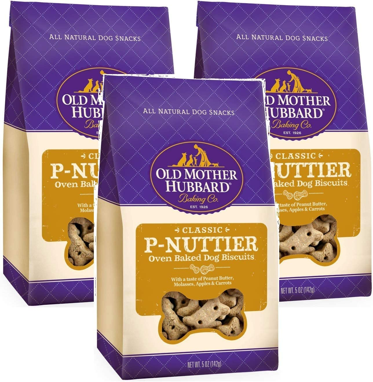 Old Mother Hubbard 3 Pack of Crunchy Classic Natural Dog Treats, P-Nuttier Mini Biscuits, 5 Ounces Per Bag