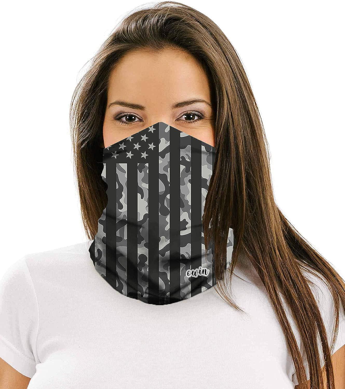 OWIN 4Pcs Unisex Headwear Face Mask Headband Neck Gaiter, Motorcycle Face Mask