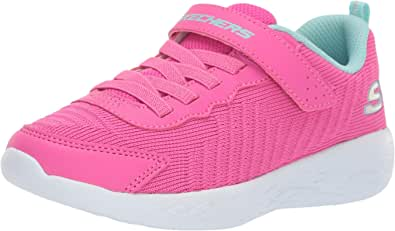 Skechers Go Run 600 Contrast Sole Lace-Up and Velcro Closure Textile Running Shoes for Girls