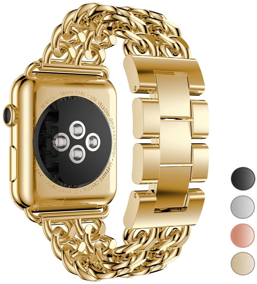 Seoaura Compatible Apple Watch Band 42mm 44mm, Stainless Steel Metal Cowboy Chain Style Replacement iWatch Series 6 5 4 3 2 1 SE Nike+ Sports Strap Wristband (Gold, 42mm/44mm)