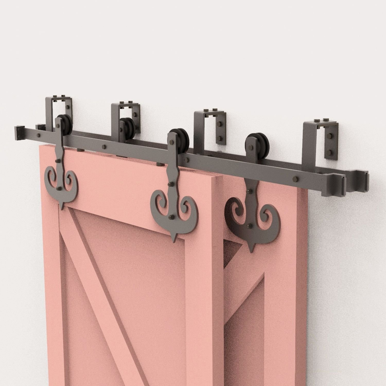 Matte Black Track Spacer Sliding Barn Door Hardware for Concrete Wall